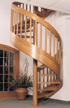 Contempo-Pak Red Oak Spiral Staircase