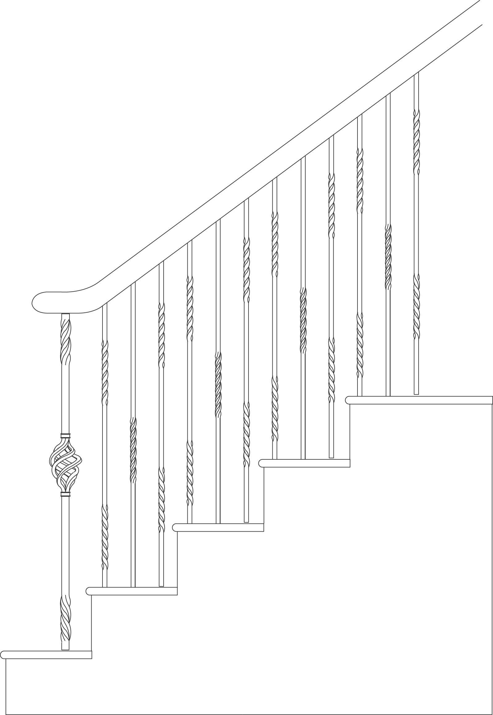 Palermo Cadd Example - Twist and Basket Iron Balusters